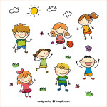 hand_drawn_cartoon_kids_vector